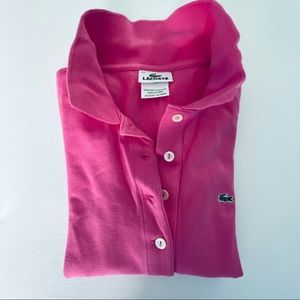 Lacoste Long Sleeve Polo Kids Girls Polo Pink 34